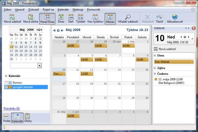 Google calendar in Thunderbird